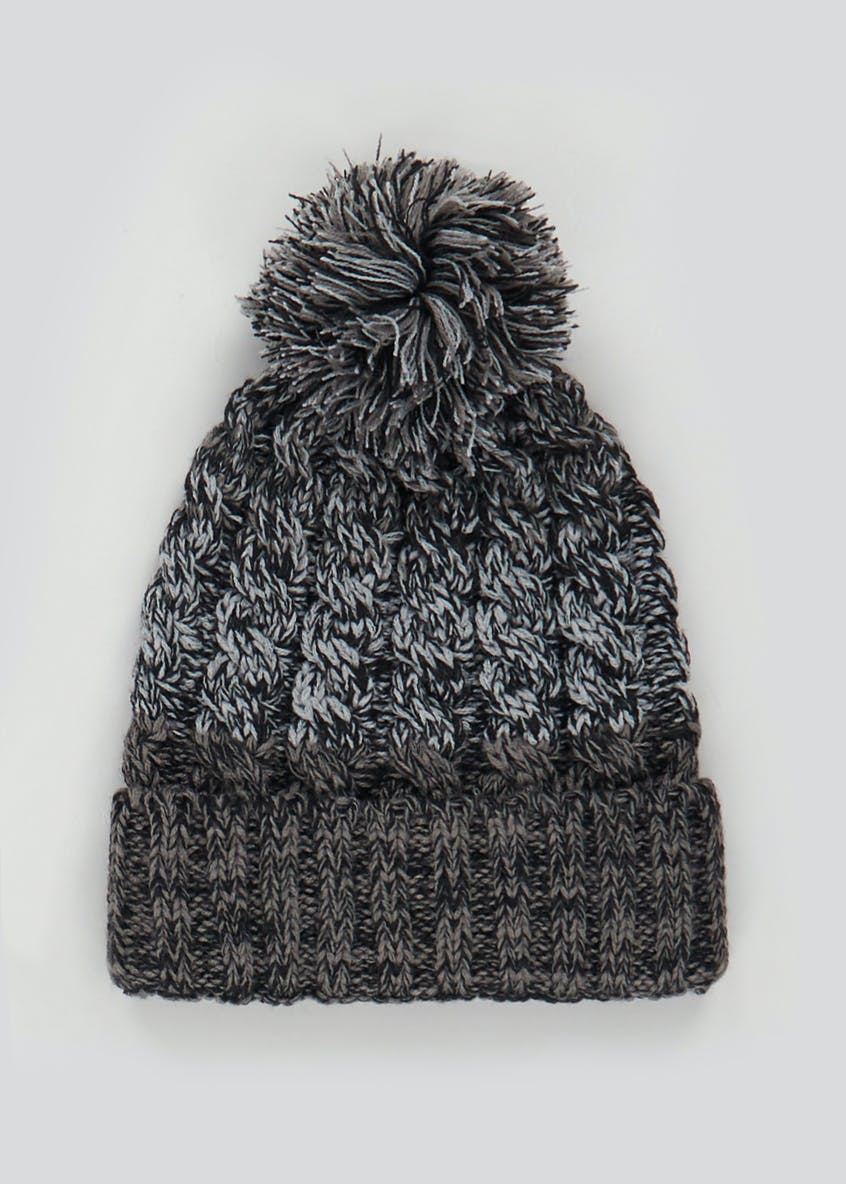 Twisted Cable Knit Bobble Hat