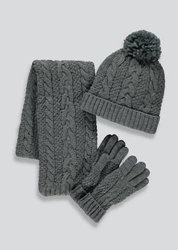 Boys 3 Piece Hat Scarf And Gloves Set (7-13yrs)