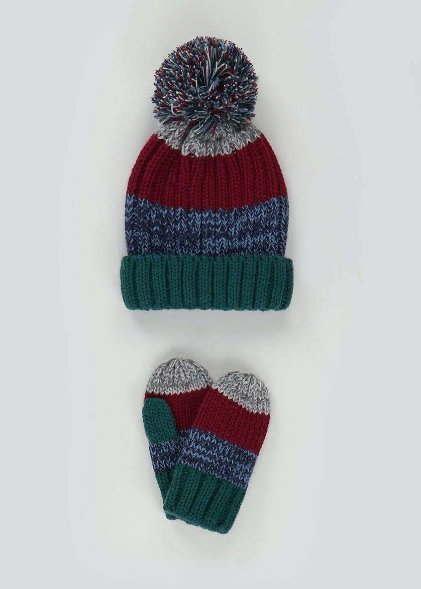 Boys 2 Piece Hat And Mittens Set (3-6yrs)