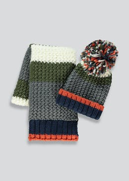 Boys 2 Piece Hat And Scarf Set (3-6yrs)
