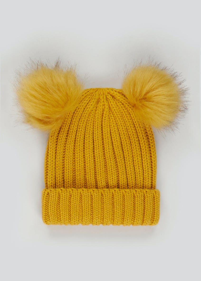 Girls Double Pom Pom Bobble Hat (3-6yrs)
