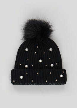 Girls Pearl Beanie Hat (7-13yrs)