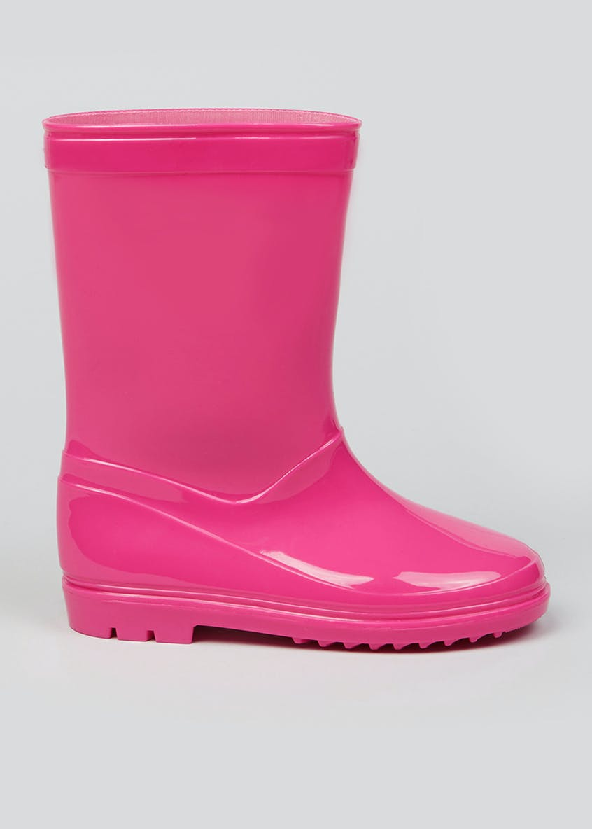 Girls Pink Patent Wellies (Younger 10-Older 5)