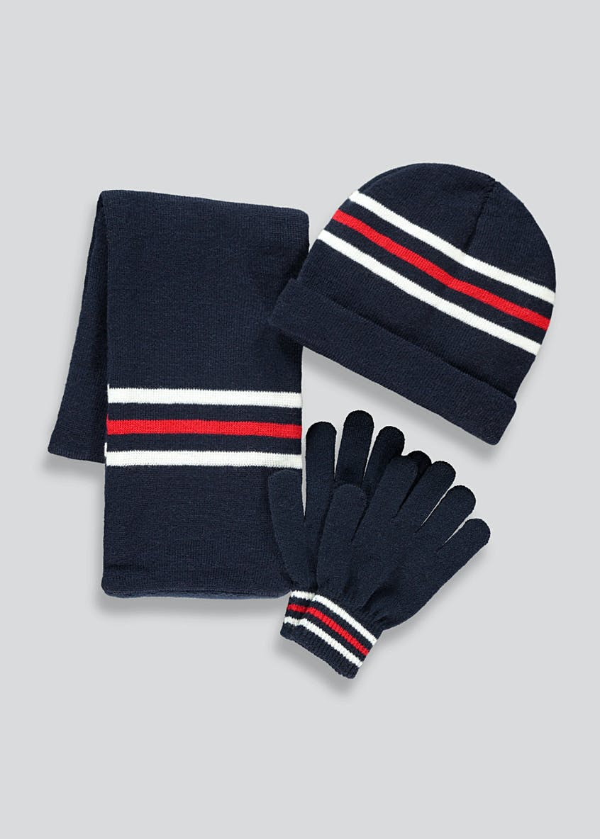 Boys 3 Piece Hat Scarf And Gloves Set (3-13yrs)