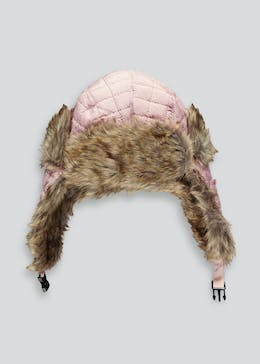 Girls Quilted Fur Lined Trapper Hat (3-6yrs)