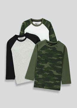 Boys 3 Pack Camo Raglan Sleeve Tops (4-13yrs)