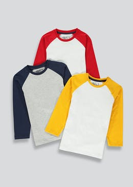 Boys 3 Pack Raglan Sleeve Tops (4-13yrs)