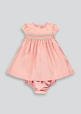 Girls Pink Short Sleeve Smock Dress (Newborn-18mths)