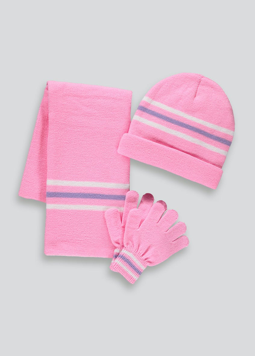 Girls 3 Piece Hat Scarf And Gloves Set (3-13yrs)