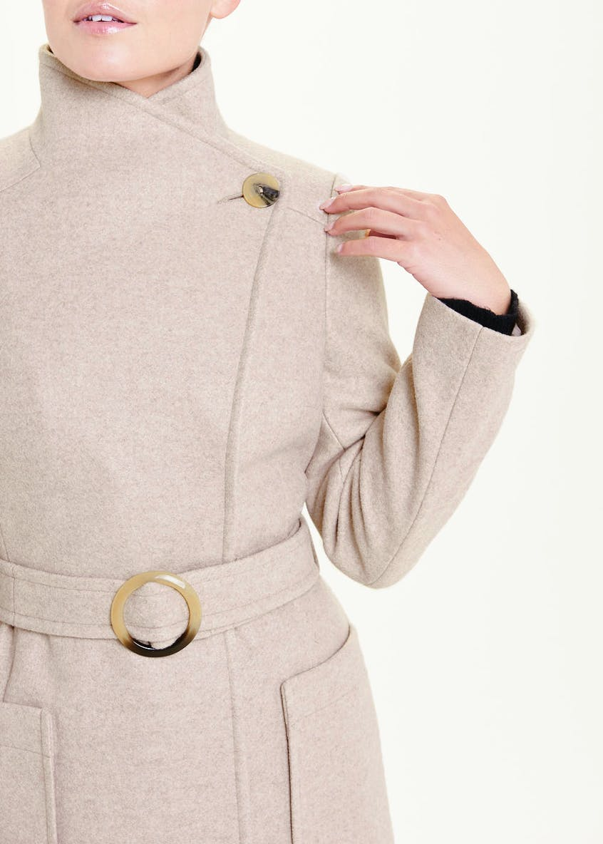 Oatmeal Belted Wrap Coat