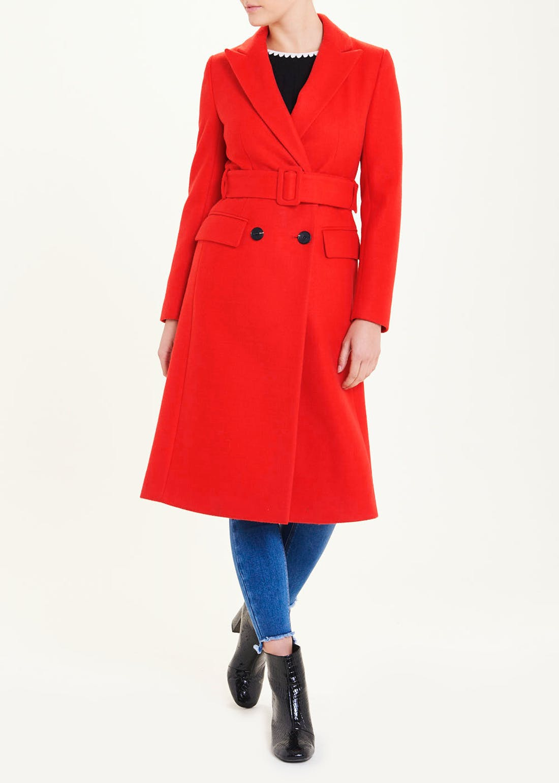 Red Double Breasted Belted Coat