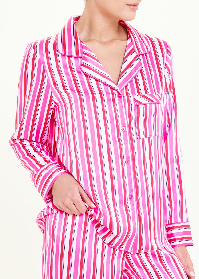 Candy Stripe Satin Pyjama Set