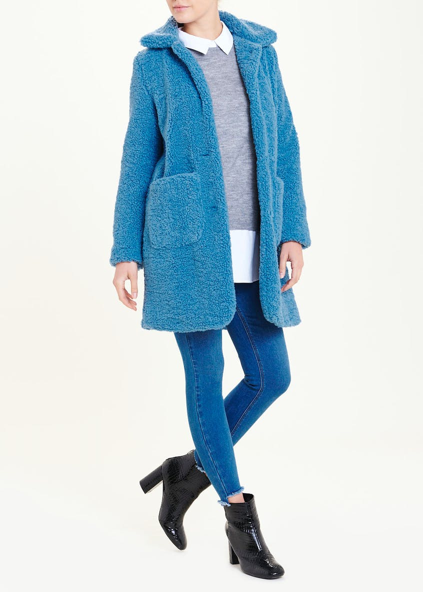 Blue Collared Teddy Coat
