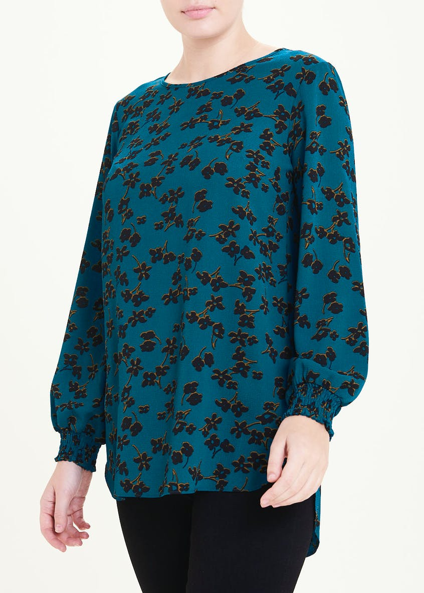 Blue Long Sleeve Floral Tunic Top
