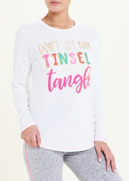 Tinsel Slogan Pyjama Top