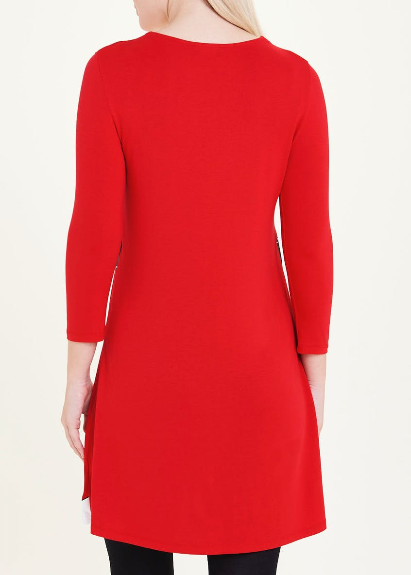 Red 3/4 Sleeve Mrs Claus Christmas Dress
