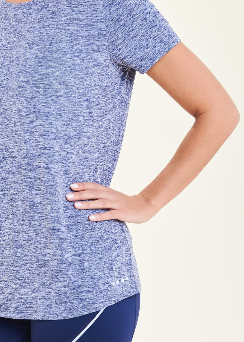 Souluxe Navy Pleat Back Gym T-Shirt