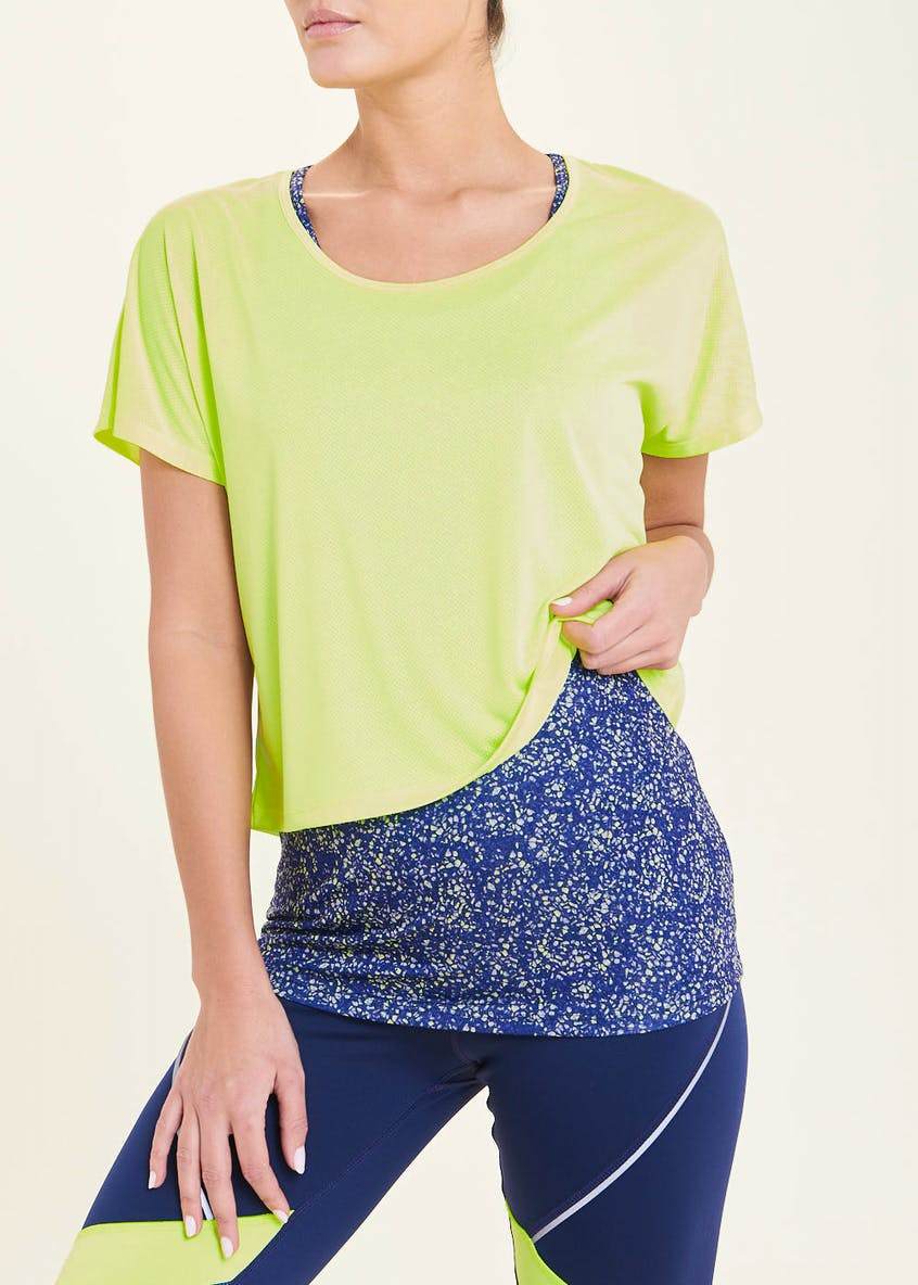 Souluxe 2 in 1 Neon Speckle Gym Top