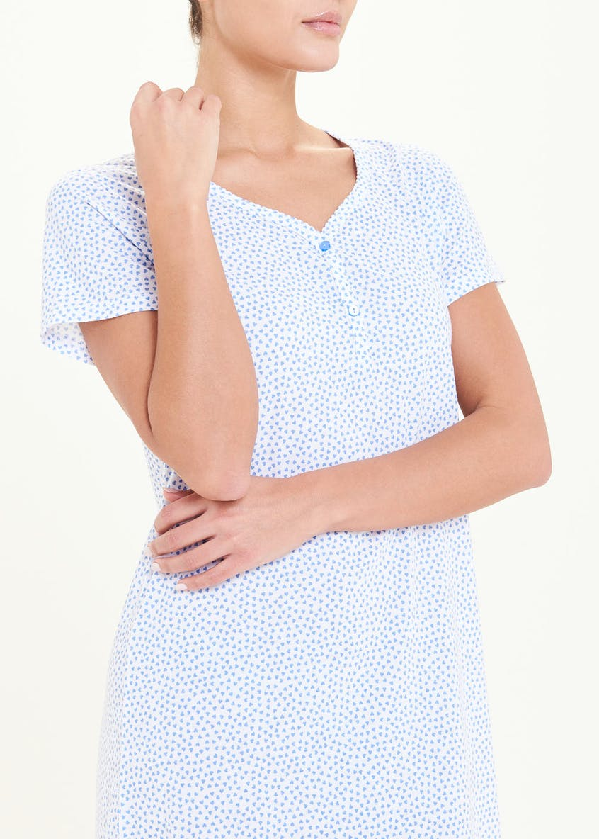 Heart Print Classic Button Nightie