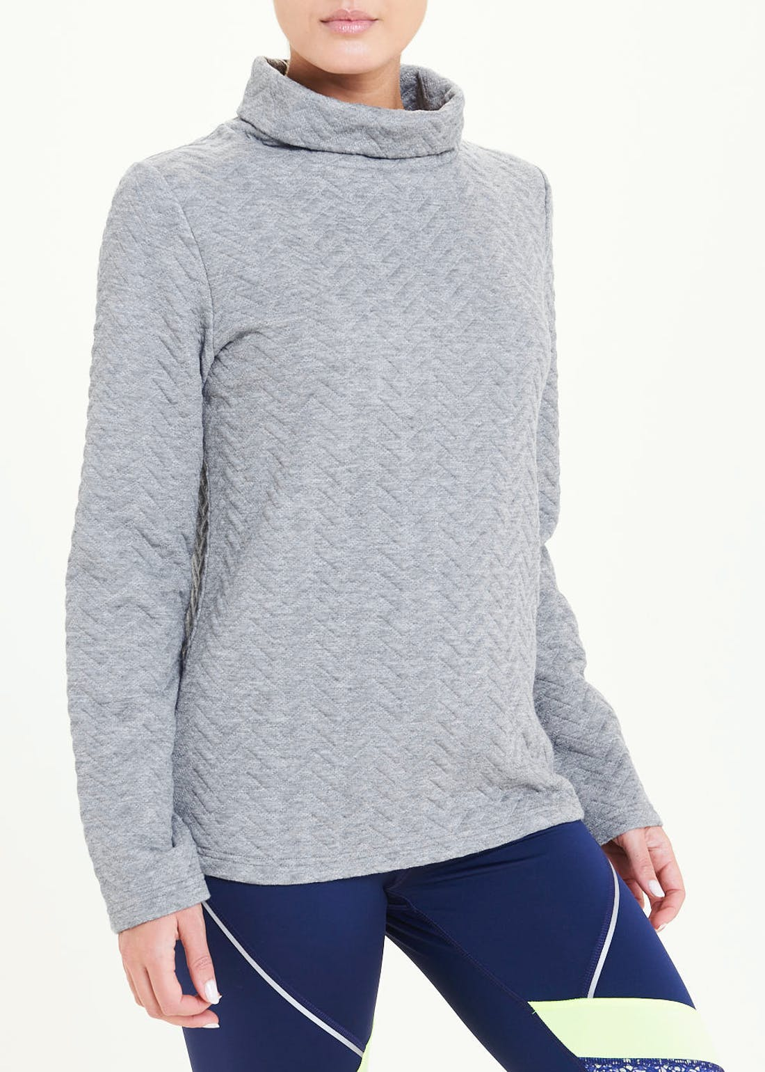 Souluxe Grey Chevron Cowl Neck Fleece