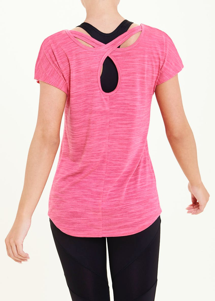 Souluxe Pink Cross Back Gym T-Shirt
