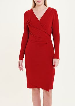 Soon Red Long Sleeve Sparkle Wrap Dress
