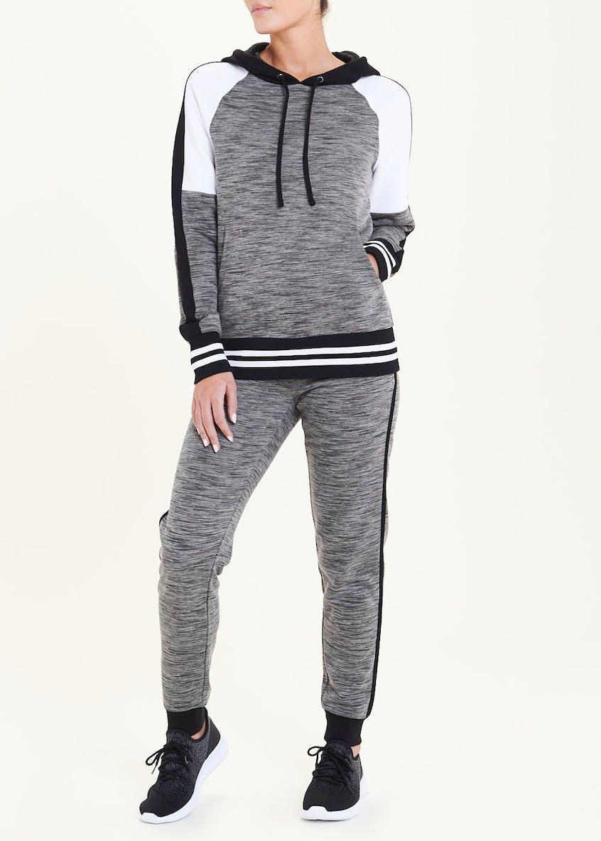 Souluxe Grey Panelled Gym Hoodie