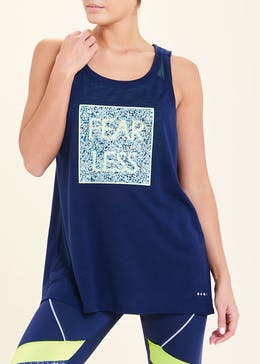 Souluxe Navy Fearless Slogan Gym Vest