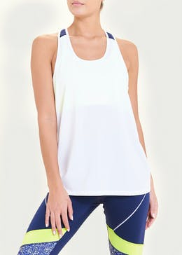 Souluxe White Neon Tape Gym Vest