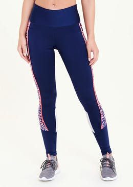Souluxe Navy Leopard Panel Gym Leggings