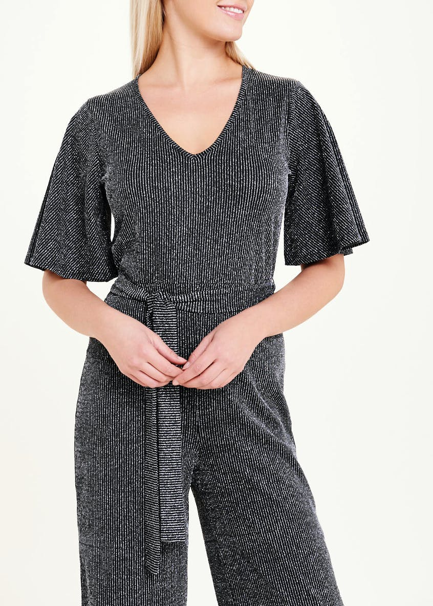 Short Sleeve Ribbed Sparkle Jumpsuit