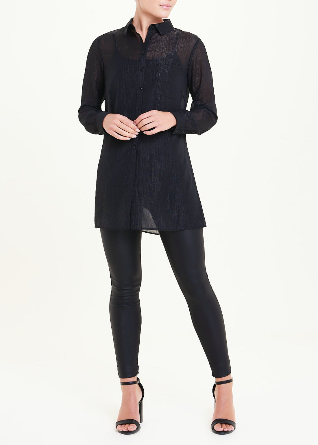 Black Long Sleeve Sparkle Tunic Shirt