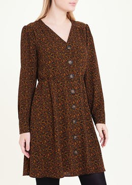 Rust Long Sleeve Micro Spot Button Dress