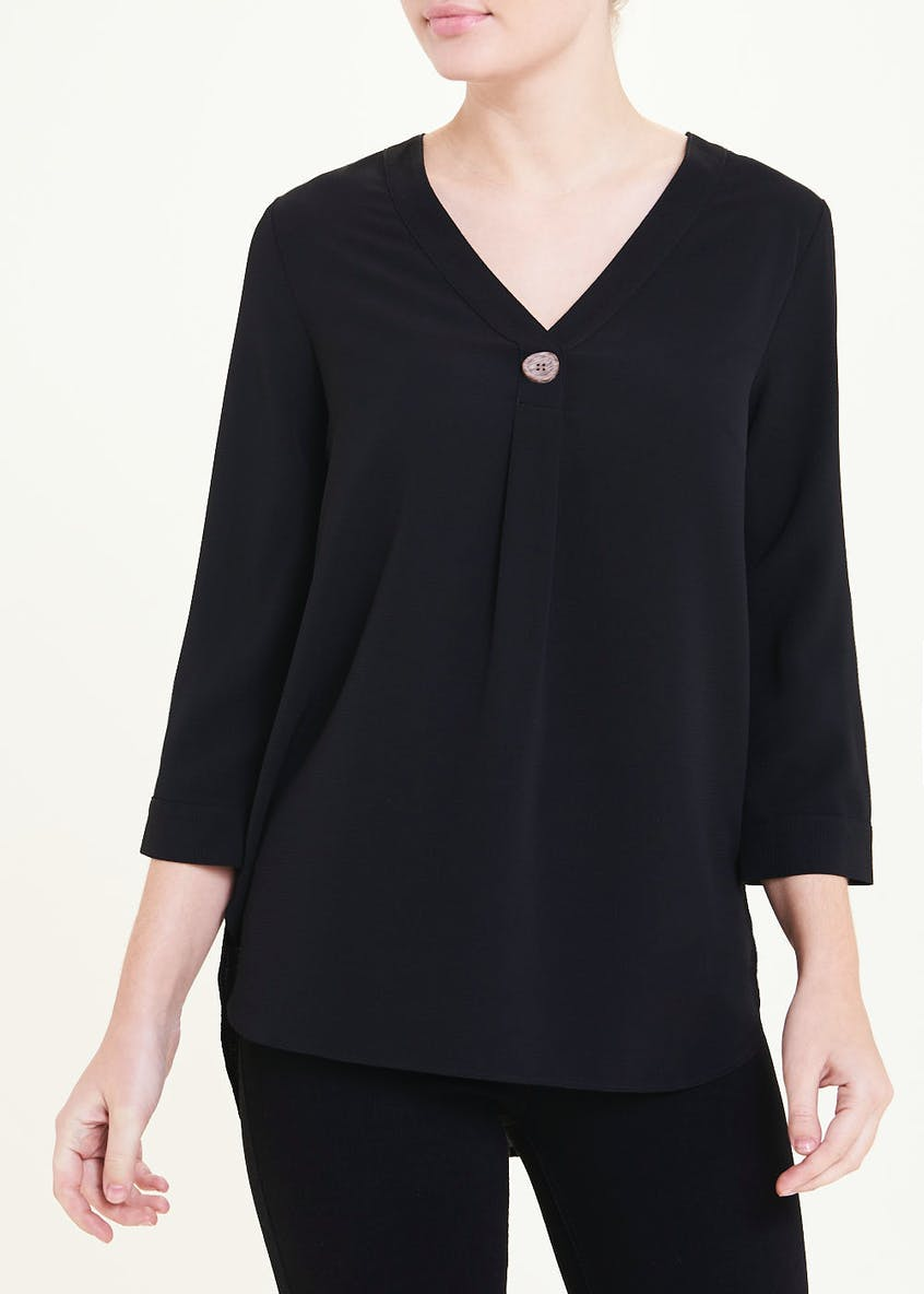 Black 3/4 Sleeve Button Detail Blouse