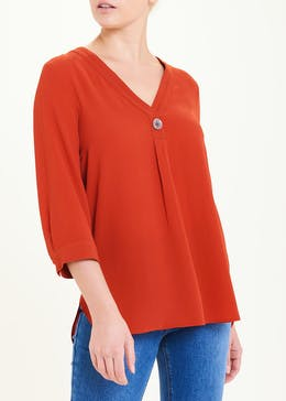 Rust 3/4 Sleeve Button Detail Blouse