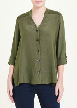 Khaki 3/4 Sleeve Shirred Shoulder Button Blouse