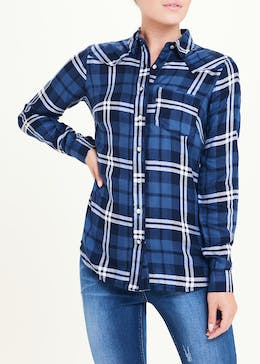 Falmer Navy Long Sleeve Check Shirt
