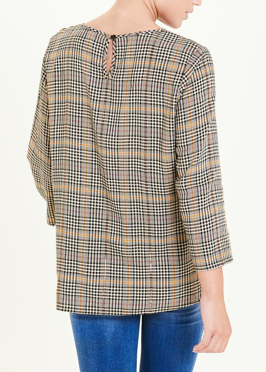 Falmer Check Button Shoulder Blouse