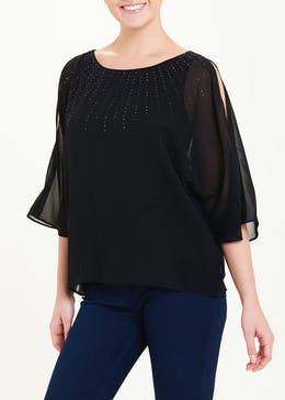 Soon Black Studded Cold Shoulder Kimono Blouse