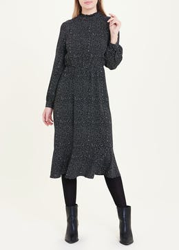 Black Long Sleeve Spot High Neck Midi Dress
