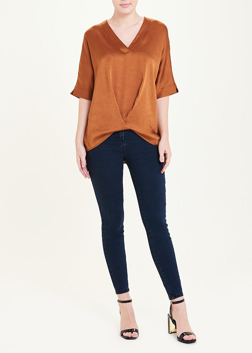 Rust Short Sleeve Twist Front Blouse