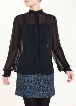 Black Long Sleeve Sheer Frill Blouse