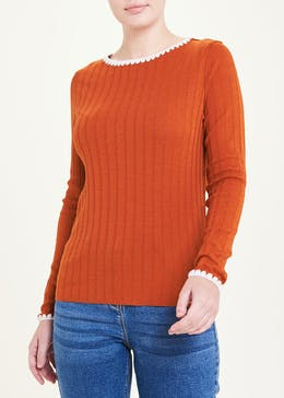 Long Sleeve Contrast Scallop Ribbed Top