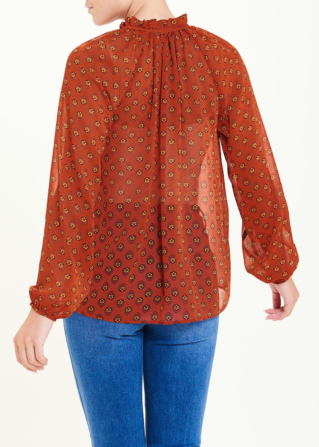 Rust Long Sleeve Geo Ruffle Neck Blouse