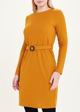 Mustard Long Sleeve Ribbed Belted Mini Dress