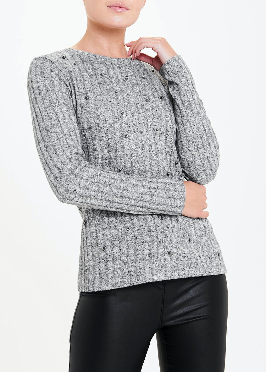 Long Sleeve Ribbed Bead Detail Top