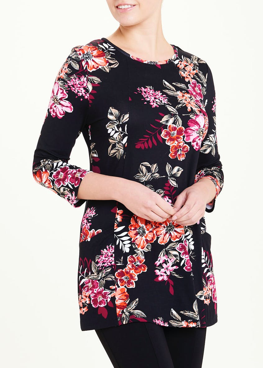 3/4 Sleeve Floral Print Tunic Top