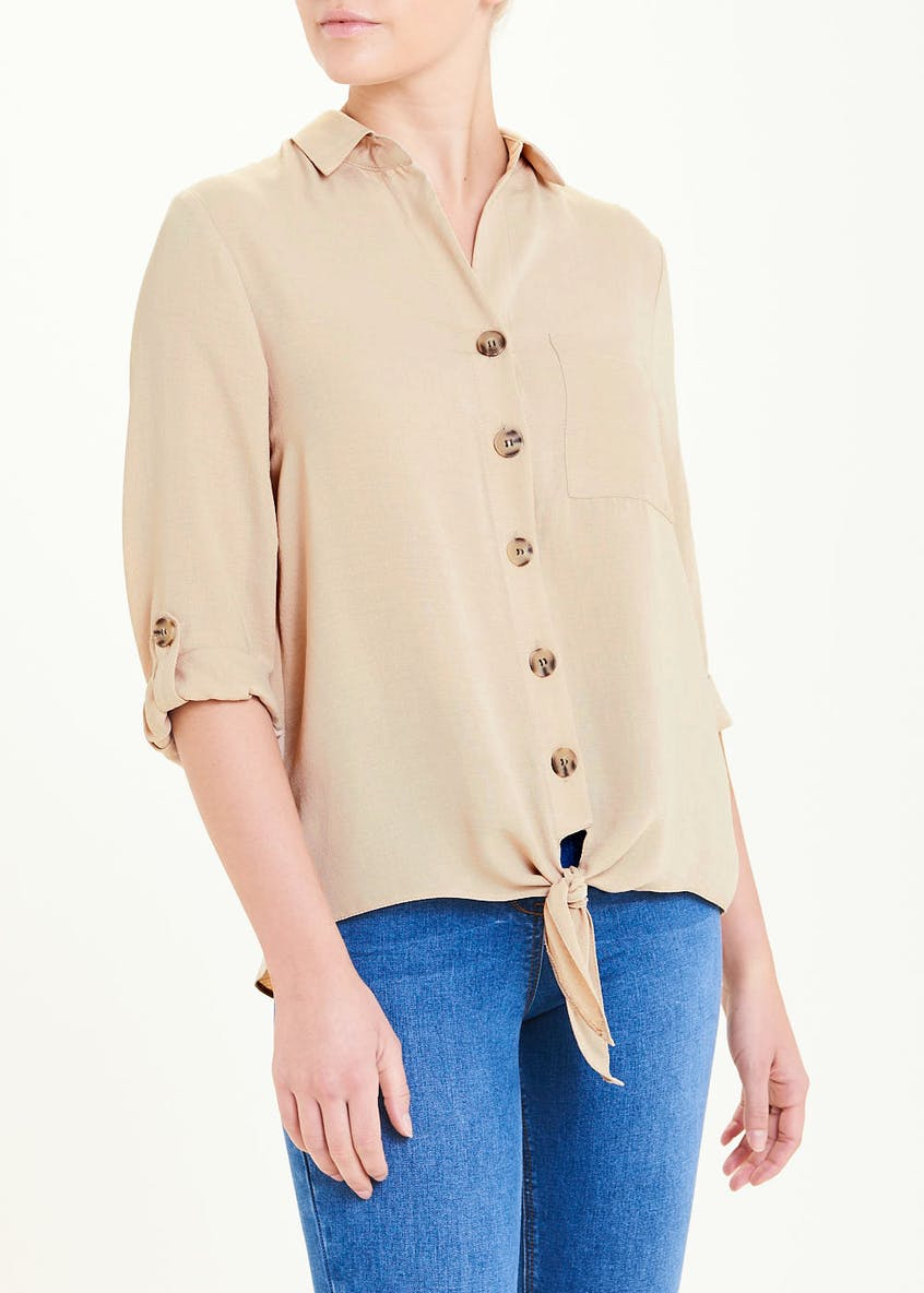 Stone 3/4 Sleeve Tie Front Button Shirt