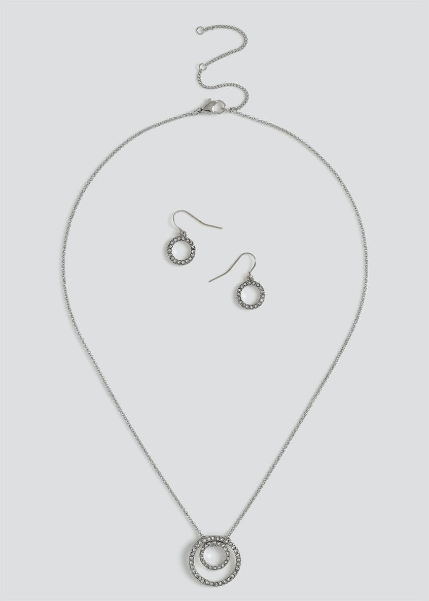 Diamante Circle Necklace & Earrings Gift Set