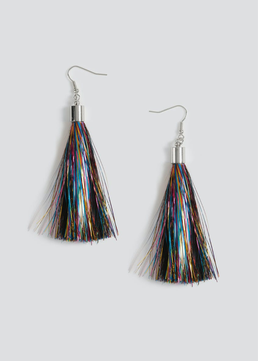 Christmas Tinsel Tassel Earrings